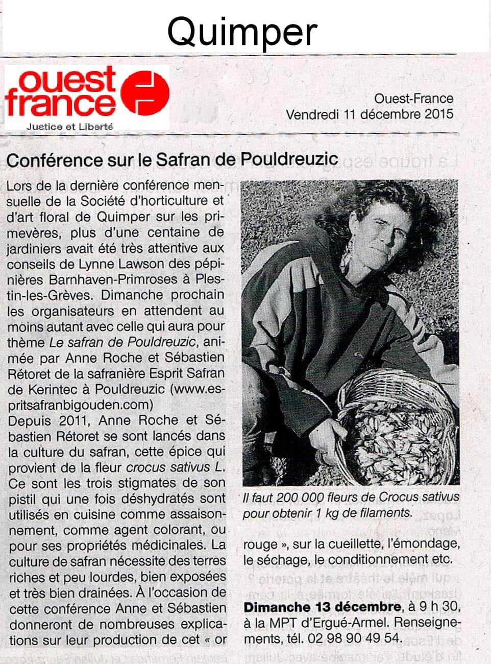 Conférence sur le safran de Pouldreuzic